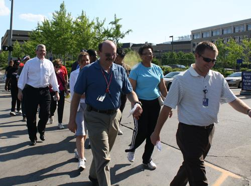 The Wellness Advisory Committee at Children's leads a lunch-time walk.
