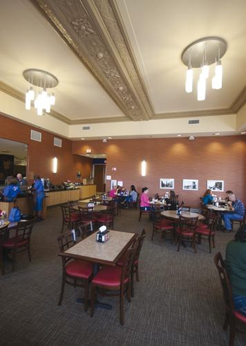 The dining room of the former Vernon Manor now houses a full-service cafeteria for the non-clinical staff of Cincinnati Children's Hospital Medical Center who work in the renovated 1920s-era building.