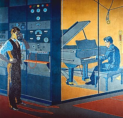 This mural depicts a worker and an artist at Cincinnati's Crosley Broadcasting.