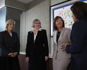 """First Financial Bancorp director Maribeth Rahe, left, says sharing her experience """"creates meaningful dialogue"""" with other board members. She's shown here with fellow directors, left to right, Corinne Finnerty, Susan Knust and Cynthia Booth."""