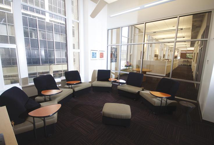 When the nonprofit KnowledgeWorks reconfigured its Fourth Street home, it did away with private offices. The space now features open work stations, huddle rooms and a gathering space to celebrate or make announcements.