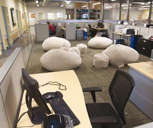 When Links Unlimited moved into its new building in Bond Hill, each department was allowed to pick its own furniture. Beanbag chairs were a popular choice.