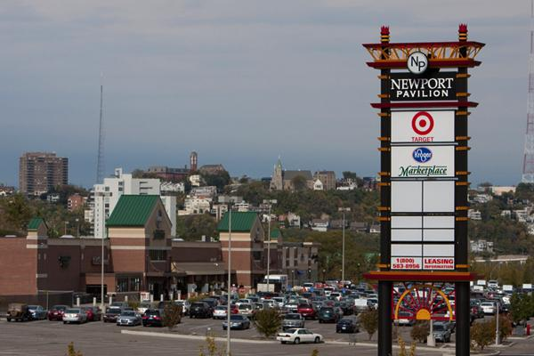 Newport Pavilion, the 463,000-square-foot shopping center along Interstate 471, is up for sale.