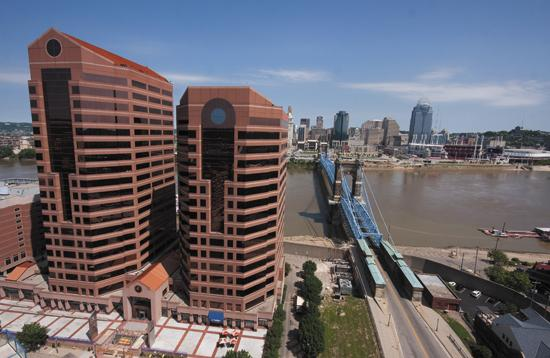 Omnicare, now based in Covington's RiverCenter II tower, is being courted by Ohio and Kentucky. The pharmaceutical services company employs more than 700 workers in the Cincinnati area.