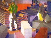 This mural shows a scene from Procter & Gamble's Ivorydale Plant, where workers cut large slabs of soap into individual bars.