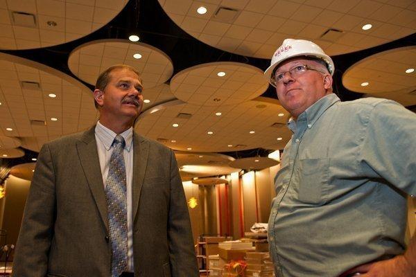 Sharonville Mayor Virgil Lovitt, left, surveys the Northern Lights Ballroom in the city's newly expanded convention center with Bob Clark, senior project manager at Megen Construction.