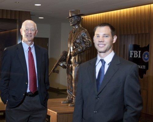 Tom Laine, left, Skanska's senior director of development in Cincinnati, and local project executive Chris Hopper at the FBI's regional field office in Kenwood, which Skanska recently built.