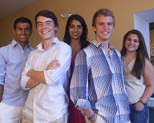 Charitable Innovations bundles money collected from fundraisers into microloans for use in developing countries. Five high school friends created the charity and now run it. From left: Jay Bekal, 17; Michael Barton, 17; Anushree Vora, 16; Brian Collette, 18; and Maria Rojas, 17.