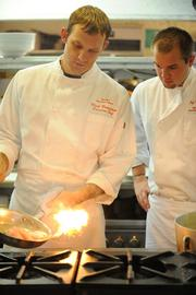 Mark Bodenstein, Executive Chef at  Parker's Blue Ash Tavern, left, and Sous Chef  Jeff Moore.
