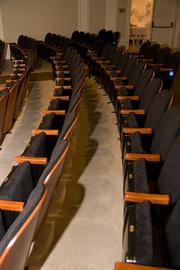 The museum's auditorium, which had seating dating from the 1930s, was redone with wider seats for today's Americans.