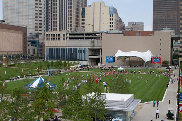 About 110 people took to the Columbus Commons downtown park as part of an effort by Columbus' professional lacrosse team, the Ohio Machine, to break the world record for the largest lacrosse game.