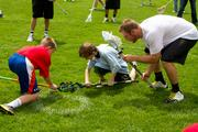 Ohio Machine players mingled among the adults and children that participated in the world record-setting lacrosse game on Wednesday.