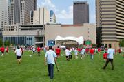 The game was played in the shadow of the downtown park's new Columbus Bicentennial Pavilion, which will play host to a grand opening concert later this month.
