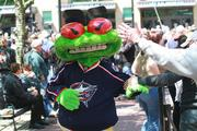 Stinger, the Columbus Blue Jackets mascot, was on hand for the unfurling of the 2013 NHL All-Star Game logo.