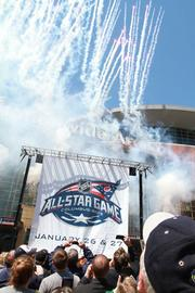 Fireworks were shot off as the 2013 NHL All-Star Game logo was unveiled Friday.
