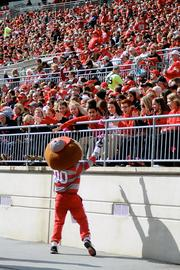 OSU mascot Brutus Buckeye will appear, along with the Ohio State pep band, at four Huntington events per year. Brutus has to stay an hour, interacting with the crowd and doing photo-ops with guests, and the band has to play for at least 15 minutes.