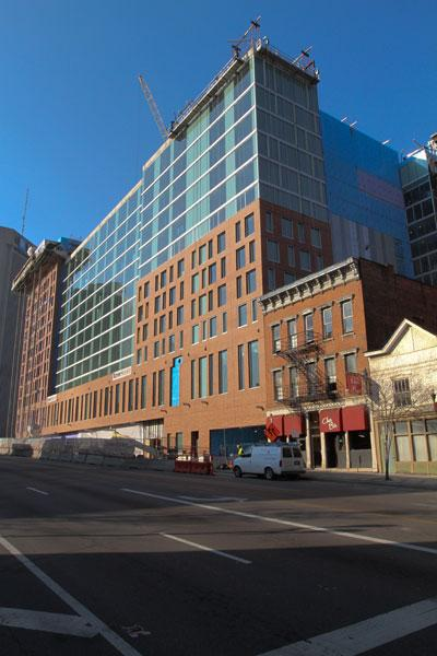 The exterior of the Hilton Hotel by the Columbus convention center is mostly done, giving residents and visitors a dramatic look at the newest addition to the city's skyline. For more shots of the construction, click on the image gallery.