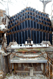 An old church organ prop provides eerie background music.
