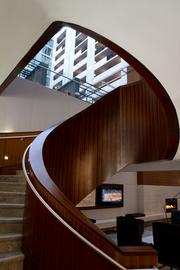 The stairway leading from the main lobby to the Gallerie Bar & Bistro.