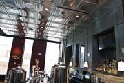 The bar's intricate tin ceiling.
