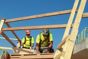 Wood frames are used to hold rebar in place while concrete is poured.