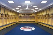Awaiting hockey gear and players, the refurbished locker room for the Blue Jackets inside Nationwide Arena.