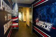 When the Blue Jackets walk from their locker room to the ice, they'll see new graphics on the tunnel wall.