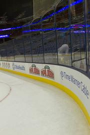 New dasher boards and glass were part of the improvement project at Nationwide Arena.