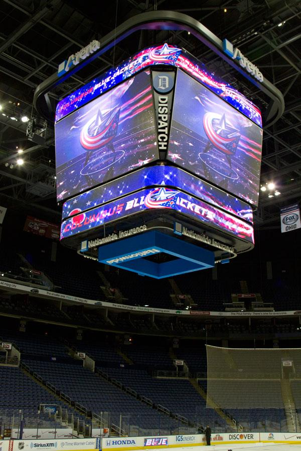 The centerpiece of the Nationwide Arena upgrade is the high-definition scoreboard over the ice.