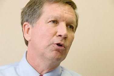 Gov. John Kasich was in Cleveland Wednesday to pitch his state budget proposal.