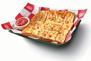 A popular side dish is a serving of cheesy bread.