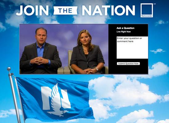 Matt Jauchius, Nationwide's chief marketing and strategy officer, and Jennifer Hanley, senior vice president of brand marketing, unveiled the insurer's 'Join the Nation' campaign during a webcast Tuesday.