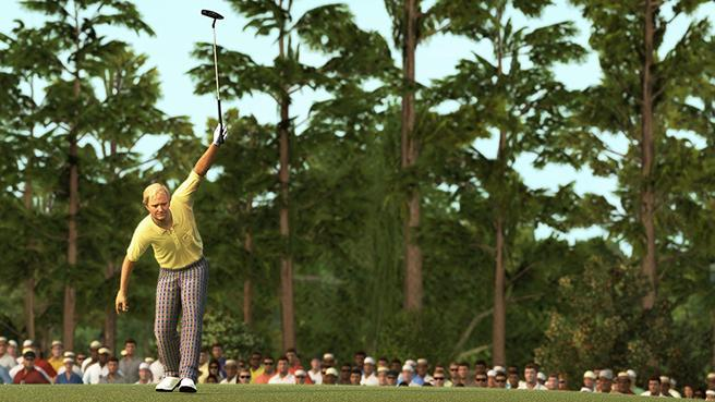 EA Sports recreates Jack Nicklaus' famous putt on the 17th hole at the 1986 Masters. Gamers can play against Nicklaus and other legends as part of the new Tiger Woods PGA Tour 14, on sale in March.