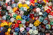 A close-up of some of the dice offered by Chessex.