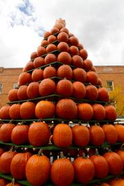 The Tower of Pumpkins on Pumpkin Alley.