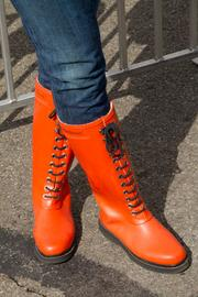 Pumpkin-colored boots worn by a Circleville resident.