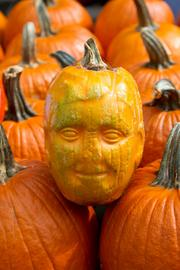 A face molded into a pumpkin was part of the creative pumpkin competition.