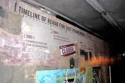 A timeline of significant events in Franklinton's redevelopment is featured on one wall.