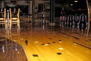 The floor is a made of a basketball court from Mendon-Union High School near Van Wert.