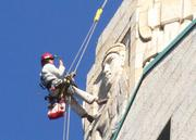 Streeter and the rest of the Vertical Access team have helmet cams to give a running view of the building's exterior.