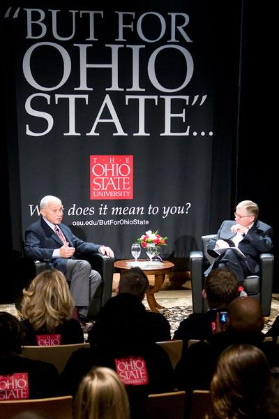 Ohio State is naming its expanding medical center after benefactor and long-time trustee Les Wexner, shown in 2010 at left after announcing a $100 million donation to the school.