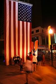 A giant flag that was later hoisted over the starting line was a popular backdrop for pre-race photos.