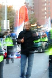 With all the runners on the course, Columbus Mayor Mike Coleman gave the thumbs up to the marathon's launch.
