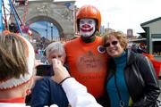 """Circleville resident Tom Edwards, """"Pumpkin Man,"""" is the show's official public relations man. For the past 18 years he has roller skated around the show, sharing good news of all things pumpkin."""