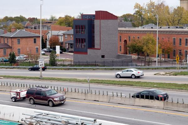 A new home for sale in Italian Village used a vertical design to get it to fit on a small parcel hugging Interstate 670.