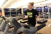 Boggs heads straight to 30 minutes on the treadmill to start her workout.
