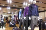 The redesigned stores have separate sections for men's styles as well.