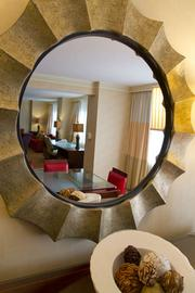 The Mayflower Suite is reflected in the dining room mirror.