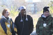 James Newland, middle, flanked by White, left, and Andrews, has been homeless for a year.