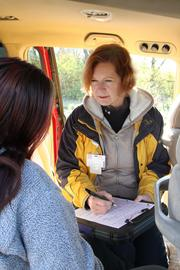 White uses the team's van as her exam room when out in the field.